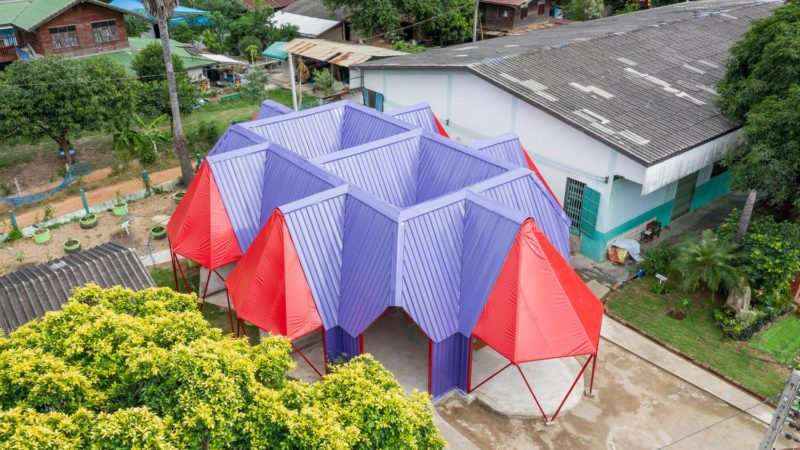 School Building in Thailand Harvests Water in the Monsoon Season